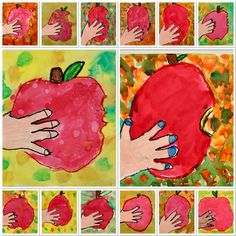 2nd Grade Takes a Bite out of An APPLE! Apple Art Projects, Fall Art Projects, Classroom Art Projects, Art Classroom, 2nd Grade Crafts, 2nd Grade Art, Grade 2, Sisters Art, Soul Sisters