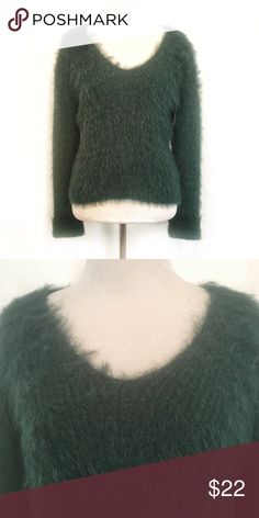 4e5479e8de J.O.A. Los Angeles Green Fuzzy Sweater - NWT Fuzzy forest green v-neck  sweater with