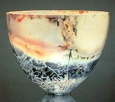 Eggshell bowl, saggared fired by...Judith E. Motzkin.