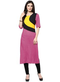 #Shopeezo Daily Wear Pink Color Cotton #voonik #Kurti-Get best #Discounts at #FabPromoCodes #Coupons