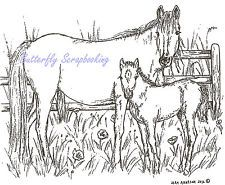 Horse Mare and Foal Fence Wood Mounted Rubber Stamp NORTHWOODS - P8547 New