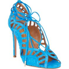 Aquazzura Lola Cutout Sandals found on Polyvore featuring polyvore, women's fashion, shoes, sandals, blue, tie shoes, suede shoes, cut out shoes, blue sandals and cut out sandals