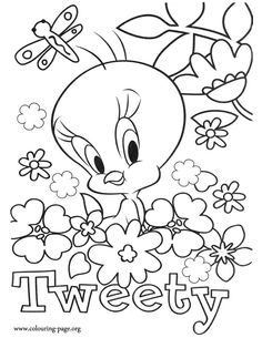 Butterfly With Flowers Coloring Pages | about coloring this beautiful picture of Tweety surrounded by flowers ...