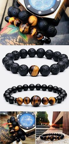 Classic Men Jewelry 8mm Natural Black Lava Iron Ore Brown Tiger Eye Red Blue Imperial Grey Snow Blue White Stone Beads Bracelet Superior Materials Bracelets & Bangles