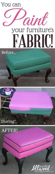 Yes, I PAINTED this! Here's how I turned a drab upholstered foot stool into something pink and fabulous with FAB! Did you know you can paint fabric!?! More DIY paintings tips and furniture makeovers at theMagicBrushinc.com