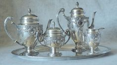 Unique, never seen Adolf Kander Silver (A800) tea and coffee service, 5 pieces Eerste helft 20e eeuw Land:	Duitsland
