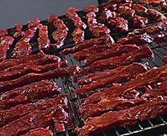 Beef Jerky Recipe : Alton Brown : Food N etwork Smoked Beef Jerky, Best Beef Jerky, Venison Jerky, Homemade Beef Jerky, Tender Beef Jerky Recipe, Jerky Recipes, Beef Recipes, Cooking Recipes, Smoker Recipes