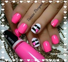 uñas decoradas #uñas #fucsia #nailart #pink #uñas bonitas Mani Pedi, Manicure And Pedicure, Spring Nails, Summer Nails, Toe Designs, Fingernail Designs, Cute Nail Art, Holiday Nails, Toe Nails
