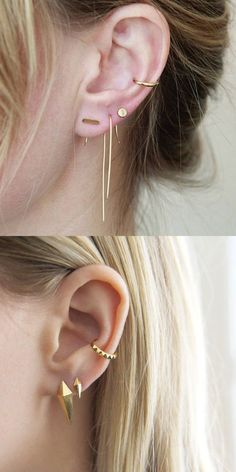 Creative Multiple Ear Piercing Ideas Placement - Gold Cuff Conch Ring Hoop - Ear Lobe Minimalist Stud Earrings - MyBodiArt.com