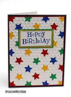 Ideas For Baby Cards Handmade Easy Embossing Folder Birthday Cards For Boys, Masculine Birthday Cards, Happy Birthday Cards, Boy Cards, Kids Cards, Card Making Inspiration, Making Ideas, Star Cards, Embossed Cards