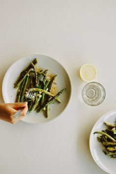 Lemon-Roasted Asparagus + Green Beans with Smoked Paprika Dressing