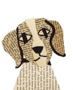 Denise Fiedler - Paste Dogs by teNeues. Newspaper Collage, Newspaper Crafts, Book Crafts, Collage Art, Collages, Art Classroom, Art Plastique, Teaching Art, Elementary Art