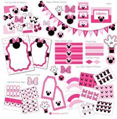 Descarga instantánea, paquete de fiesta Minnie Mouse, invitación de Minnie Mouse, Minnie Party, Disney, Minnie Mouse invitar (DM1)