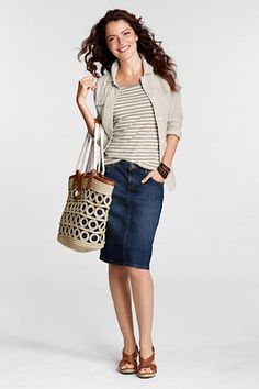 This Lands' End denim skirt is great! I have one in a size 4. Their clothes tend to fit me big so I size down.