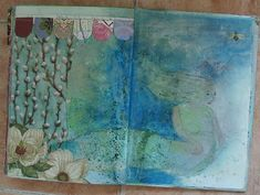 Art journal inspiration. Rambling Rose. Typepad blog. Mermaid journal page a