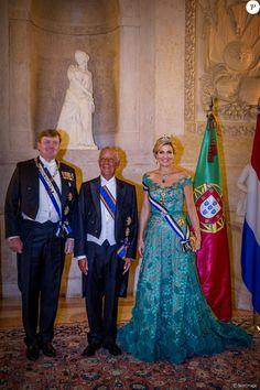 Le roi Willem Alexander et la reine Maxima des Pays-Bas, Marcelo Rebelo de Sousa (le président de la République portuguaise) - Le roi et la reine des Pays-Bas lors d'un dîner d'état au Palais national d'Ajuda lors de leur visite officielle à Lisbonne, le 10 octobre 2017.  Dutch royals at a state dinner at Palacio da Ajuda, Lisbon, Portugal - 10 Oct 201710/10/2017 - Lisbonne