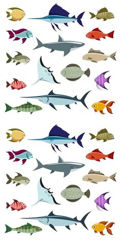 Colored fish vector icons set on white background Ocean Illustration, Character Illustration, Tropical Fish Pictures, Coral Drawing, Sea Creatures Drawing, Fish Art, Fish Fish, Drawn Fish, Fish Icon