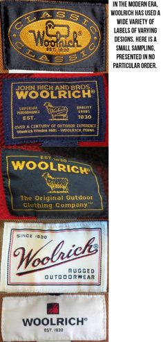 Dating Woolrich Coats.  More examples of Woolrich labels.  Anyone happen to know what years these represent?  If you know, please leave a comment.  Thank you!