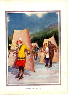 Sailing  on the Ice..1921 book plate  from by ConstantCollectors, £4.00