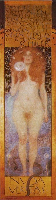 """Gustav Klimt """"Nuda Veritas"""" 『裸の真実』1899 252×56.2cm Oil painting Canvas Kunst historischen Museum Wien"""