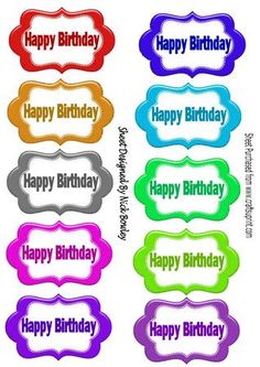 HAPPY BIRTHDAY Stitched tags on Craftsuprint - Add To Basket!
