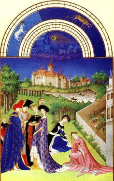 April - Les Très Riches Heures du Duc de Berry.  The scene for the month of April shows a couple exchanging engagement rings in the presence of their parents. Women pick flowers and trees are now clothed in green. In the background is the Chateau de Dourdan.