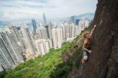 Nicolas Ludvigsen, an amateur climber from Norway - Peel Street, Hong Kong