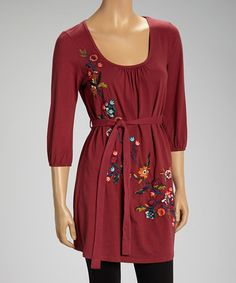 Take a look at the Burgundy Floral Wash Tie-Waist Tunic on #zulily today!
