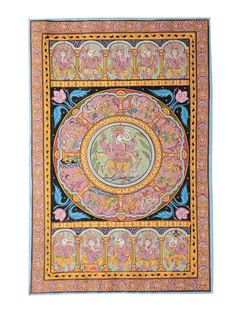 Multicolor Pattachitra Dancing Position of Ganesha and Story on Paper 18in X 12in Art Traditional Textile Divine Scroll Paintings in Silk & Palm Leaves from Odisha Online at Jaypore.com