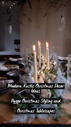 Christmas Table Settings, Christmas Tablescapes, Christmas Table Decorations, Christmas Candles, Rustic Christmas, Hygge Christmas, Centre Pieces, Outdoor Dining, Modern Rustic