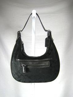 AUTHENTIC COACH Black Monogram Canvas Leather Shoulder Handbag  #Coach #Shoulder