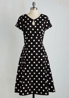 The Keyhole to Success Dress. Your style standards are short but sweet - ensembles simply have to be as darling as this polka-dotted dress! #black #modcloth