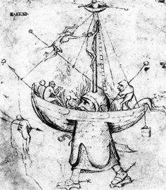 BOSCH, Hieronymus The Ship of Fools in Flames - Pen and bistre, 176 x 153 mm Akademie der bildenden Künste, Vienna Hieronymus Bosch, Renaissance Artists, Religious Paintings, Dutch Painters, Old Master, The Fool, Painting & Drawing, Ship, Fine Art