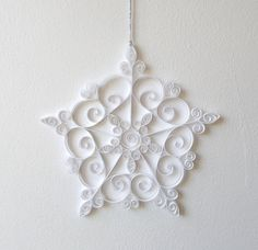 White Paper Snowflake, 7in Paper Quilled Snowflake, Christmas Snowflake, Christmas Ornament, Quilled Christmas Decoration, Paper Quilling by ElinaQuills on Etsy
