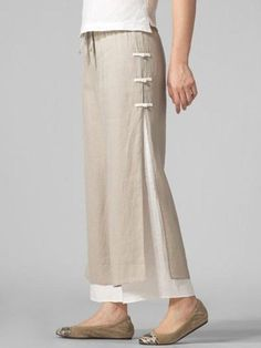 How cute are these? Casual Stylish Plus Size Pants Look Fashion, Fashion Pants, Fashion Design, Unique Fashion, Fashion Styles, Cotton Pants, Linen Pants, Linen Dresses, Women's Dresses