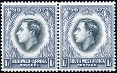 SOUTH WEST AFRICA 1937 Coronation. A former German colony which was seized by British South African forces in 1915. Prior to the issue of its first stamps in 1923, German and then South African stamps were in use. Many stamps are inscribed alternatively in English and Afrikaans and were issued in bi-lingual pairs or triplets by overprinting stamps of South Africa. In March 1990 the country became independent and is now known as Namibia.