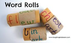 Word rolls are great for young children who are learning or practicing sight words. Students can manipulate the word rolls to create different words. Sight Word Activities, Reading Activities, Literacy Activities, Teaching Reading, Fun Learning, Activities For Kids, Learning Numbers, Reading Skills, Problem Solving Activities