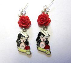 Nautical Enamel Black Red Rose Rockabilly Pinup by sweetie2sweetie, $11.99