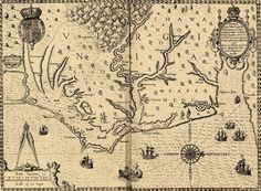 pictures of north carolina in the 1600s | Circa 1585–1586 map of the coast of Virginia and North Carolina.