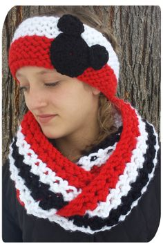 Red Black and White Disney Themed Infinity Scarf by YarnAllOver, $35.00