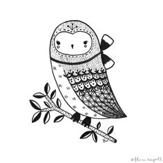 Flora Waycott - Inktober Day 20 - a little baby owl friend x