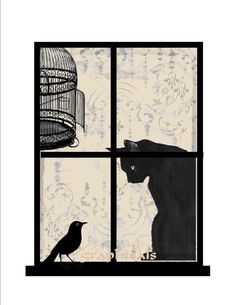 Bird escape cat birdcage two for one digital by graphicals on Etsy, $1.80