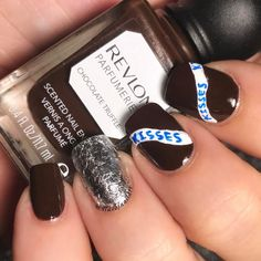 "161 Likes, 25 Comments - Jennifer (@4luvofnailart) on Instagram: ""Hershey's kisses anyone?!? Chocolate for #glamnailschallengefeb ! Ummm...yes please!! I think the…"""