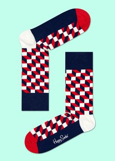 Classic colors meet graphic design in filled optic socks. Pattered in rectangles of blue, red and white, these socks offer a fun, fitted style that can be added to any outfit. That means whether you're dressing up or down, colorful socks are there for you! Knited from combed cotton, only the sturdiest fibers were used to create long-lasting comfort your feet will love every day.