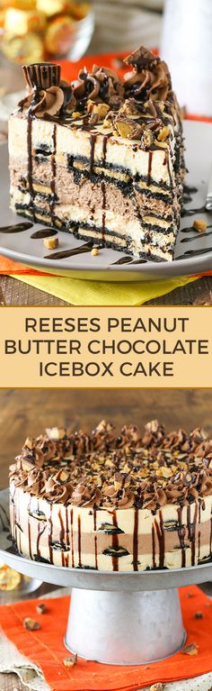 Reeses Peanut Butter Chocolate Icebox Cake - an awesome no bake dessert! Layers of peanut butter and chocolate filling, peanut butter Oreos and Reese's on top!