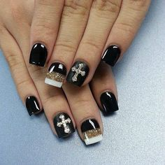 Black, White, and Gold Sparkle with Cross Nail Art Design