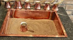 old-school Turkish coffee, which percolates in bronze pots atop a hot pit of sand
