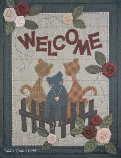 Cats wall hanging quilt