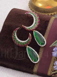 Designer Earrings with Crescent Moon Shape