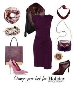 """office party in purple rose"" by sensual-spirit ❤ liked on Polyvore featuring BijouxBar by Vivien Frank, UNIQUENESS, Dareen Hakim, Ted Baker, LISKA, Casadei, Diane Von Furstenberg, Prada, Aude Lechère and Good & Co"